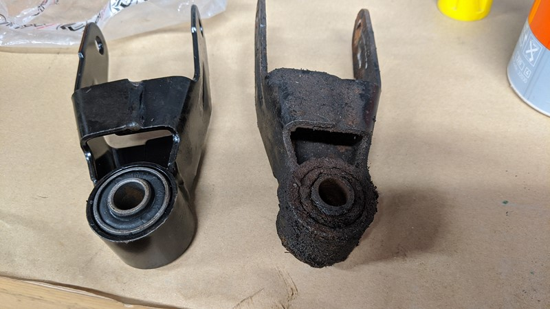 New and old lower engine mount