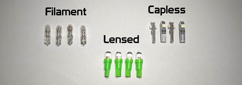 Bulb options. Filament, Lensed or Capless