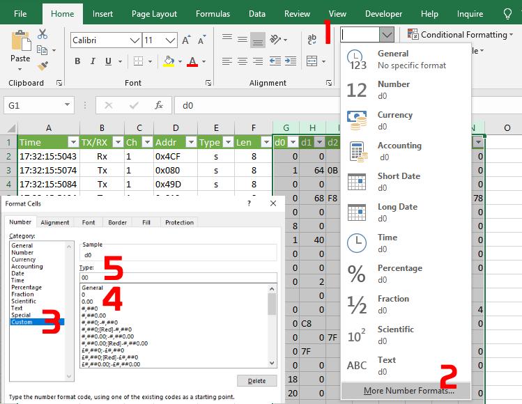 Applying formatting to the data columns