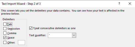 Set the import delimiter to 'Space'