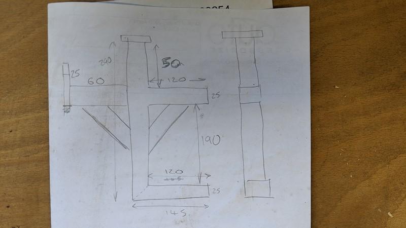 Basic 'fag packet' design for the roof bar storage