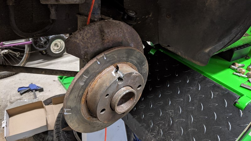 Grinder and cold chisel treatment applied to brake disc