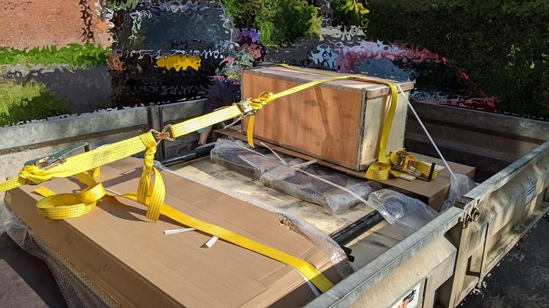Scissor lift back home, but still on the trailer