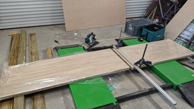 Cutting the engineered oak down for the workbenches