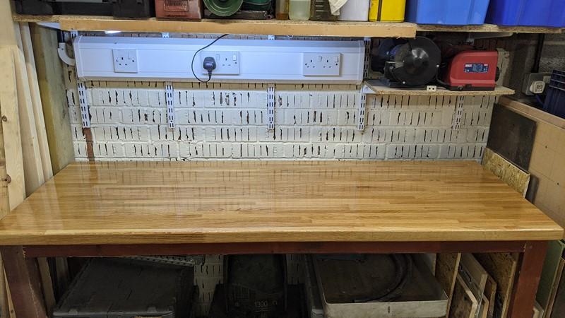 oak topped workbench