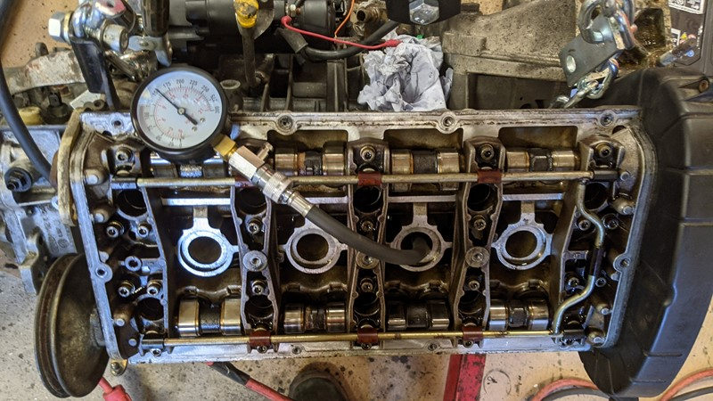 US Pro cylinder pressure tester in action