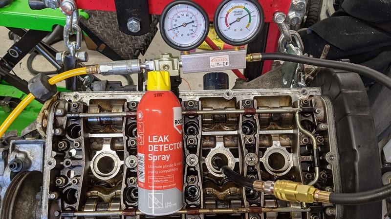 Cylinder pressure tester and Rocol leak detector spray