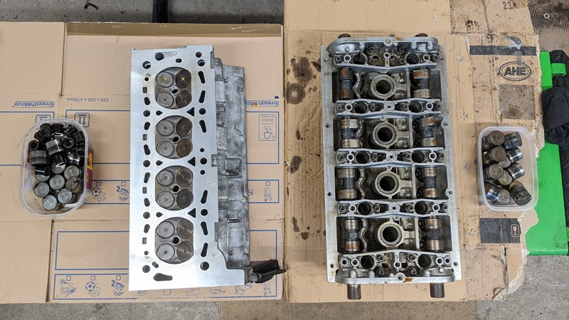 XPOs refurbished cylinder head on the left, and the spare on the right