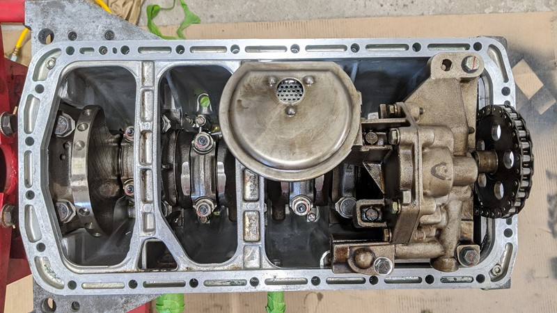 Sump spacer plate in place, without excess sealant