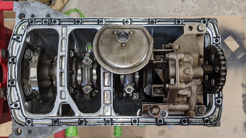 Bottom end built up and ready for the sump pan