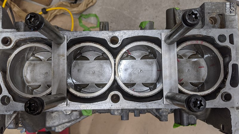 All the pistons and liners back in the bottom end