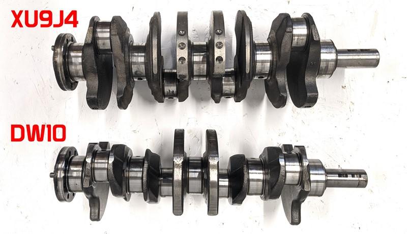 XU9J4 and DW10 crankshafts side by side