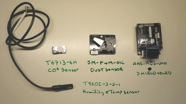 Core components of the Amphenol Air Quality Kit for Arduino