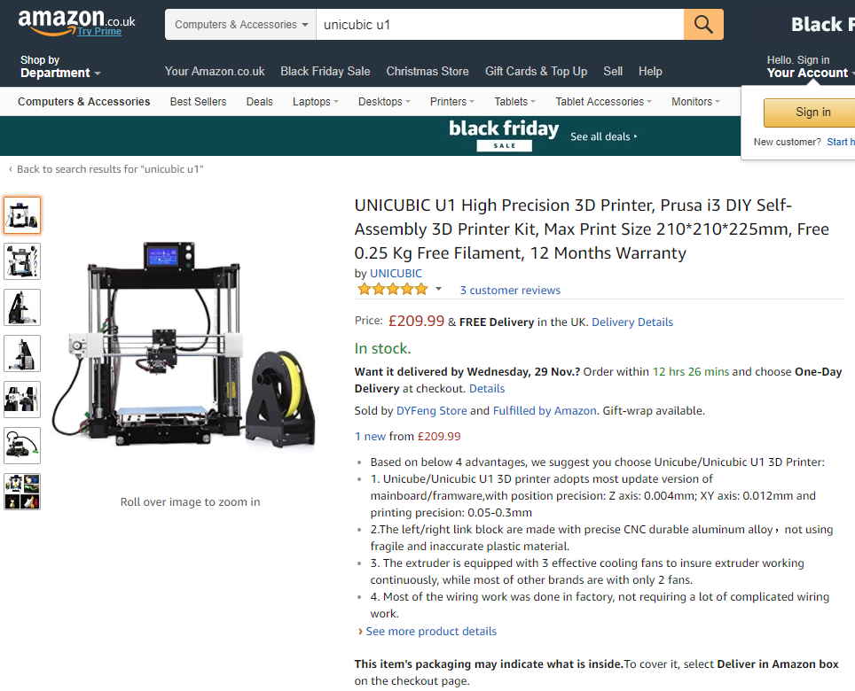 The Amazon listing for the Unicubic U1 3D printer