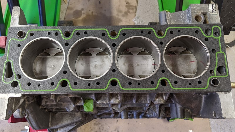 Head gasket in place ready for the final engine assembly