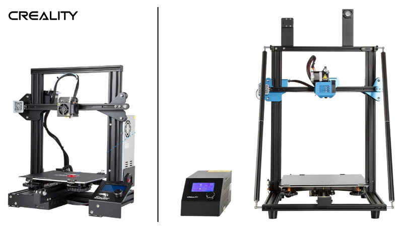 The entry-level Ender 3, and the commercial level CR10